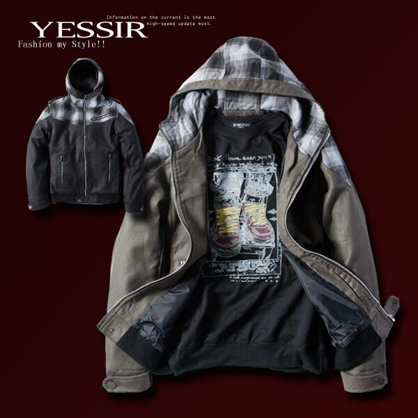 【YES SIR!】冬日嚴選-C001192-英倫騎士風格紋拉鍊造型連帽外套-2色-XL-2L