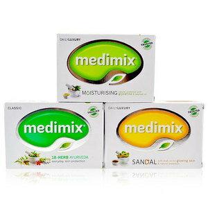 《香水樂園》美黛詩 MEDIMIX 印度綠寶石皇室藥草浴 美肌手工皂 125g  草本 寶貝 檀香 可超商取貨付款