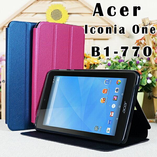 【冰河TPU】Acer Iconia One 7 B1-770 7吋專用平板側掀皮套/翻頁式保護套/斜立展示/三折側開平板套