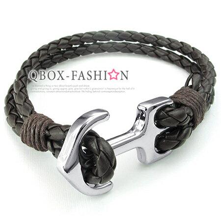 《 QBOX 》FASHION 飾品【W10024553】精緻個性航海船錨環扣合金皮革手鍊/手環(咖啡色)