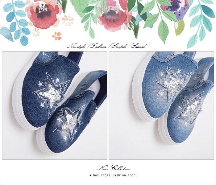 格子舖*【ASA-6】校園基本款百搭 個性刷白破壞刷破星星 2.5CM帆布鞋 懶人鞋 2色 1