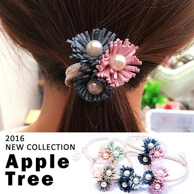 AppleTree日韓-珍珠小雛菊花朵髮圈 三朵花造型髮束,7色【609007】