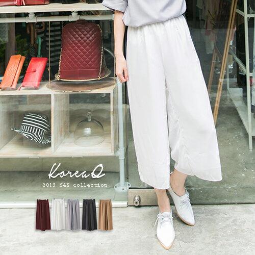 寬褲‧純色雙層雪紡八分寬口褲(現+預購)‧15060224/ Korea Q