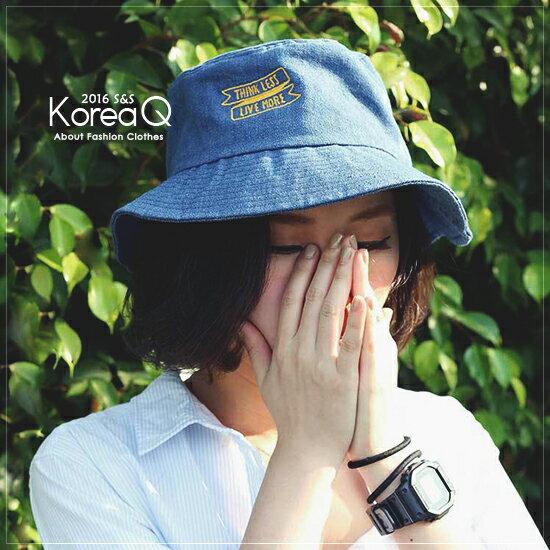 漁夫帽 刺繡字母牛仔漁夫帽(預+現) Korea Q【16030133】