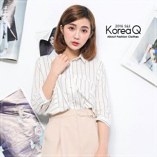 襯衫 棉麻條紋珠扣襯衫^(預 現^) Korea Q~16040393~