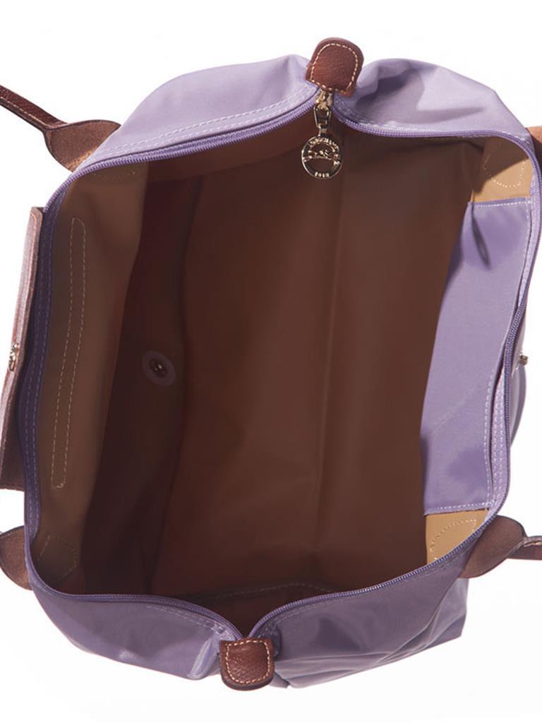 [2605-S號長柄]國外Outlet代購正品 法國巴黎 Longchamp  購物袋防水尼龍手提肩背水餃包 薰衣草 3