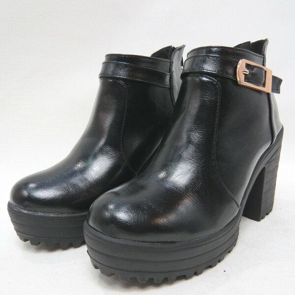 *免運*新款粗跟高跟馬丁靴短筒裸靴英倫風17-7797(黑)*[彩虹屋]* 現+預