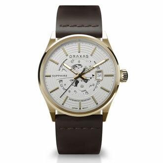 法國設計師首創 DRAXAS奢華白金版 鏤空機械皮革腕錶 5ATM 男錶女錶 情侶錶 時尚手錶首選