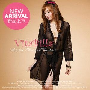 【伊莉婷】VitaBilla 沐浴誘惑黑 睡裙+小褲 二件組 A000730638 0