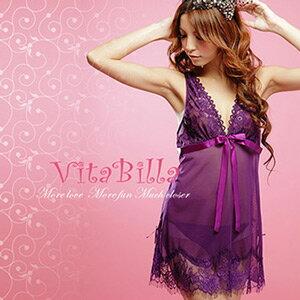 【伊莉婷】VitaBilla 媚紫之戀 LUCKMATE 情定一生 睡裙+小褲 二件組 G003830007 0