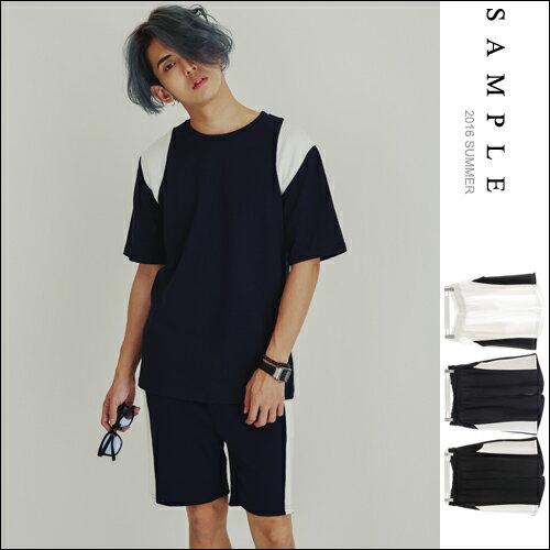 韓國製 套裝~短褲 側邊羅紋拼接鬆緊棉褲~PS16104~~ SAMPLE