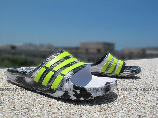 Shoestw【AQ2158】ADIDAS DURAMO SLIDE 拖鞋 一體成型 渲染 白黑螢光綠 男女生都有