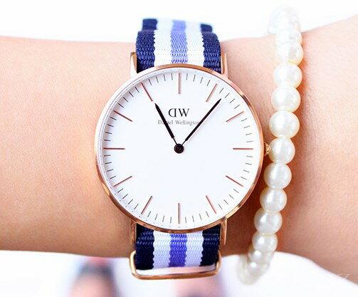 瑞典正品代購 Daniel Wellington 0609DW 銀 玫瑰金 尼龍 帆布錶帶 女錶手錶腕錶 36MM 2
