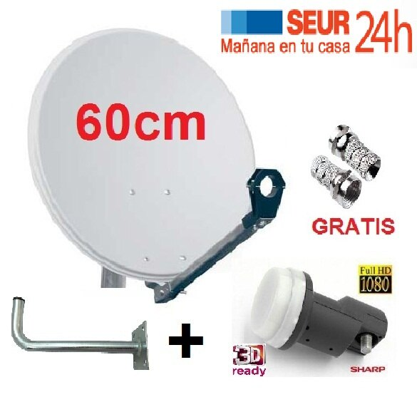 ANTENA PARABOLICA 60cm + LNB SHARP 3D READY + SOPORTE PARED + CONECTORES F 0