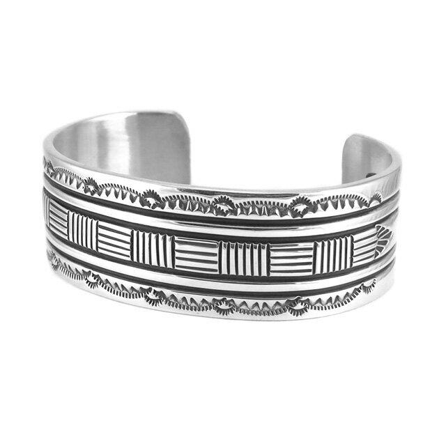 【現貨商品】【Indian Jewelry】印地安圖騰刻印寬版手鐲(Navajo-045-R-10633) 0