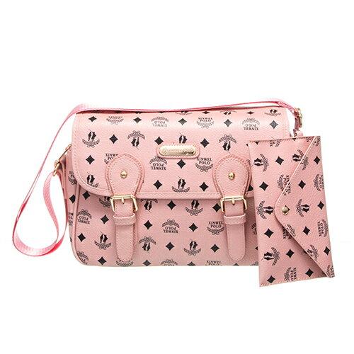【XINWEI POLO】奢華LOGO風側背包附零錢包-723-粉