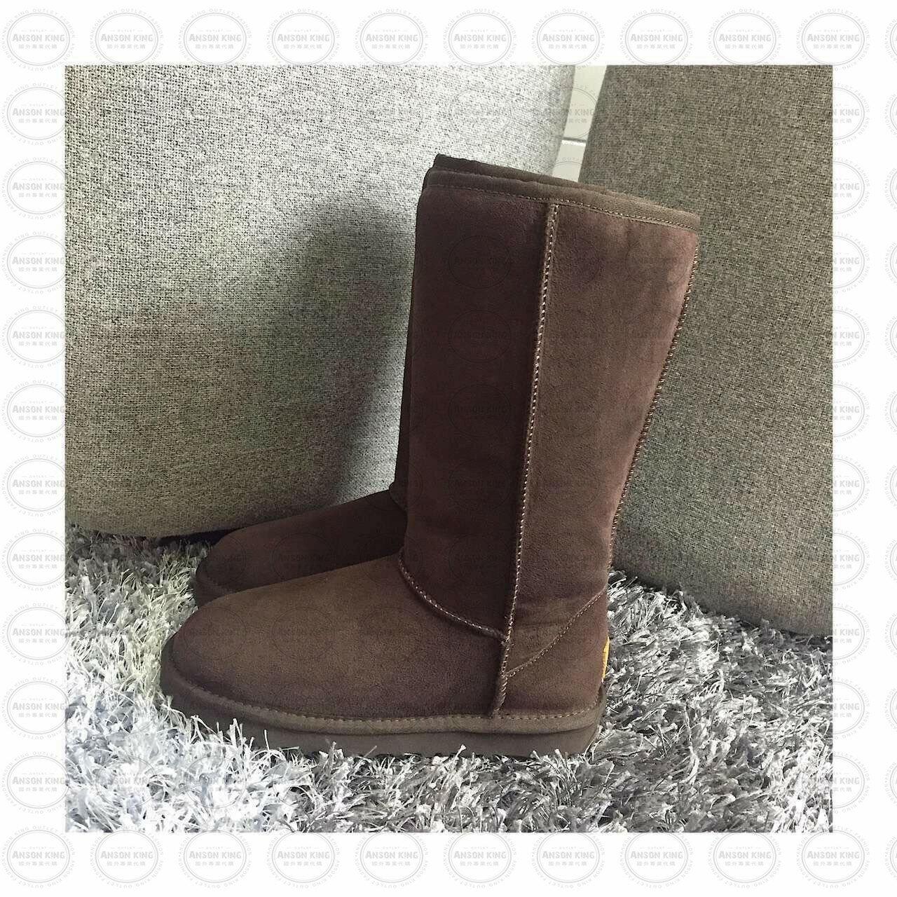 OUTLET正品代購 澳洲 UGG 經典女款羊皮毛一體雪靴 中長靴 保暖 真皮羊皮毛 雪靴 短靴 巧克力色 0