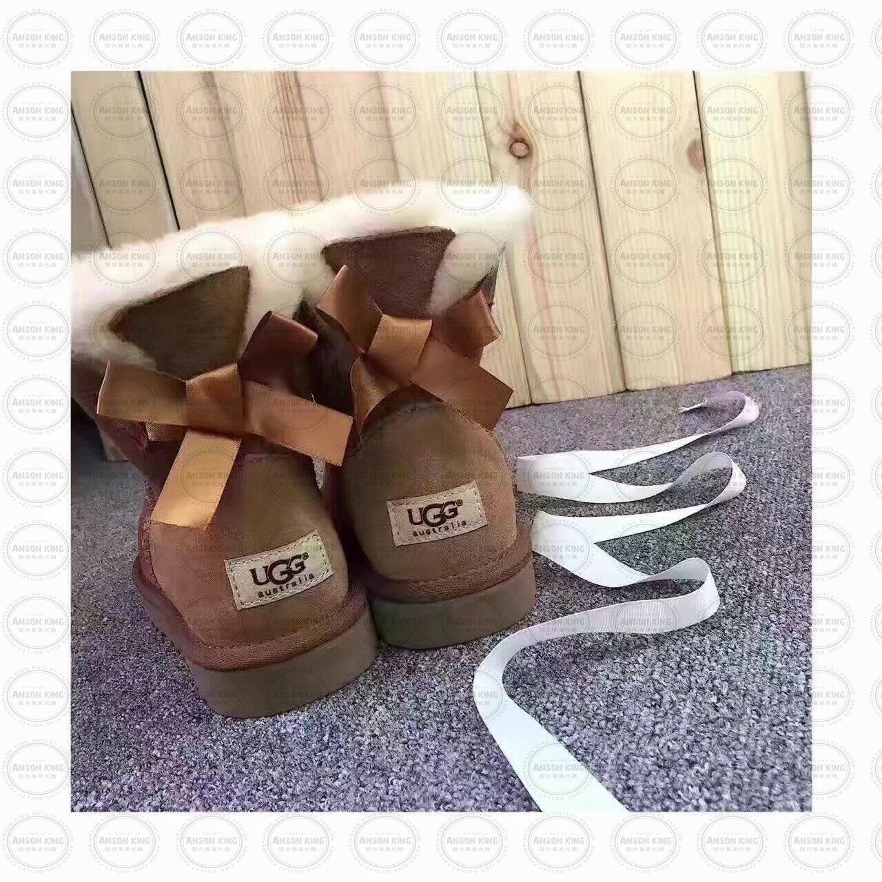 OUTLET正品代購 澳洲 UGG 單蝴蝶結羊皮毛一體 中長靴 保暖 真皮羊皮毛 雪靴 短靴 駝色 0