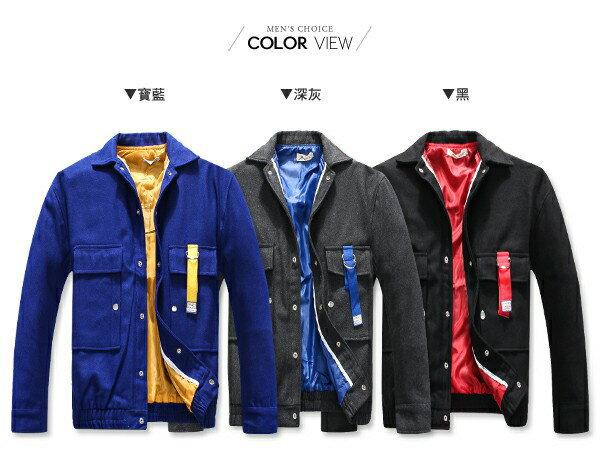 ☆BOY-2☆【NQ98029】MA1外套 毛呢撞色排扣軍裝外套 1