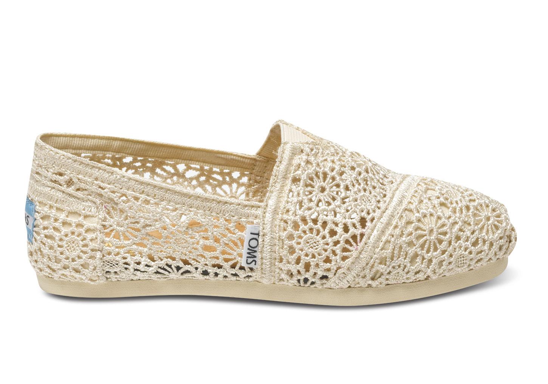 【TOMS】米白色蕾絲鏤空繡花平底休閒鞋  Natural Crochet Women's Classics 2