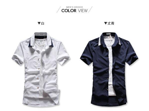 ☆BOY-2☆ 【NAA838】型男潮流修身簡約素面休閒壓色短袖襯衫 2
