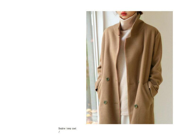 西裝大衣 素色雙排釦加厚羊毛呢中長款大衣外套 艾爾莎【TAA1194】 2