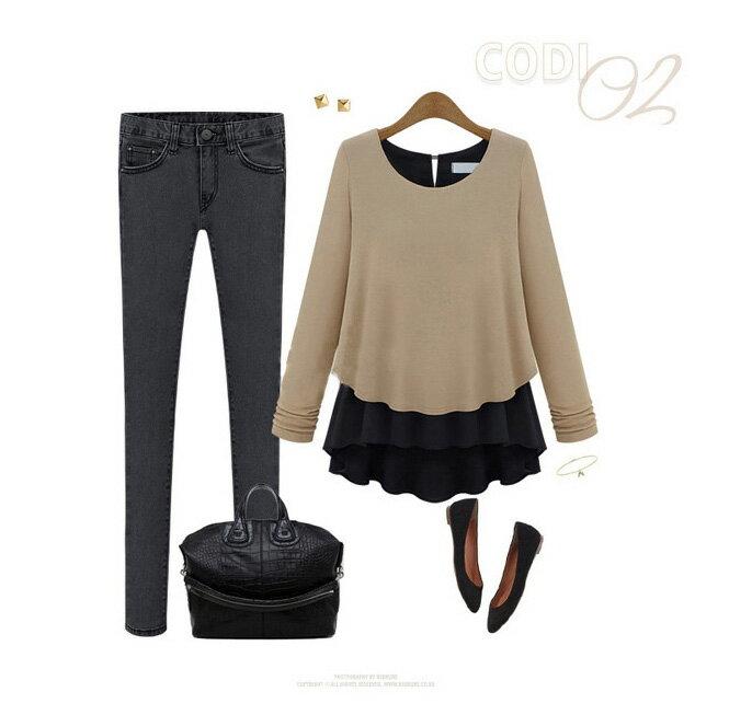 長袖針織衫 一件式混搭加厚不規則假兩件拼接雪紡針織衫 艾爾莎【TAE0502】 2