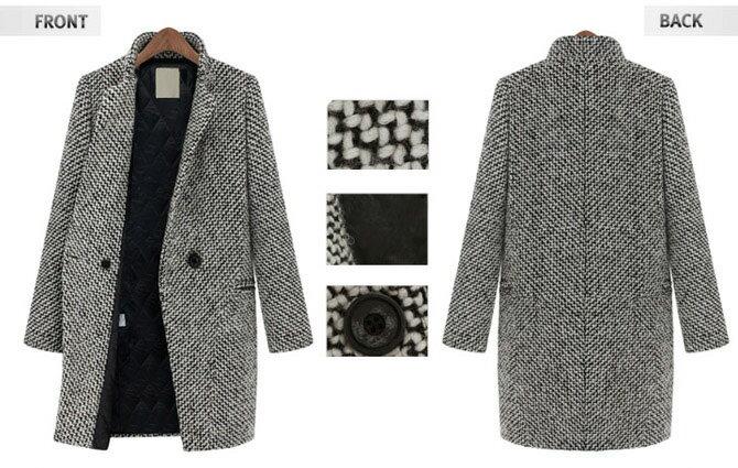 長大衣千鳥格 兩穿立領翻領歐洲經典款一粒釦加厚版長版毛呢大衣外套 艾爾莎【TAE0509】 1