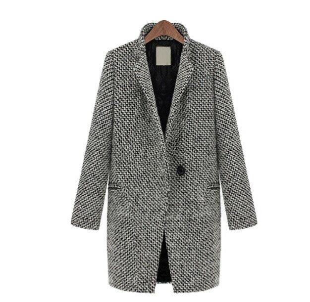 長大衣千鳥格 兩穿立領翻領歐洲經典款一粒釦加厚版長版毛呢大衣外套 艾爾莎【TAE0509】 2