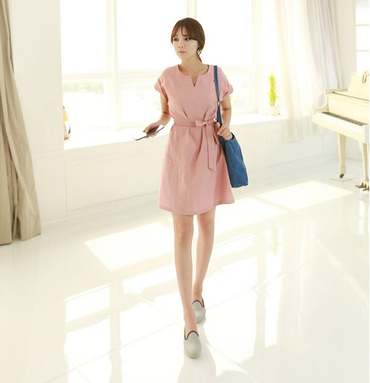 高腰短袖洋裝長裙 清新可人純色顯腰身附綁帶連身裙 艾爾莎【TAE1938】 1
