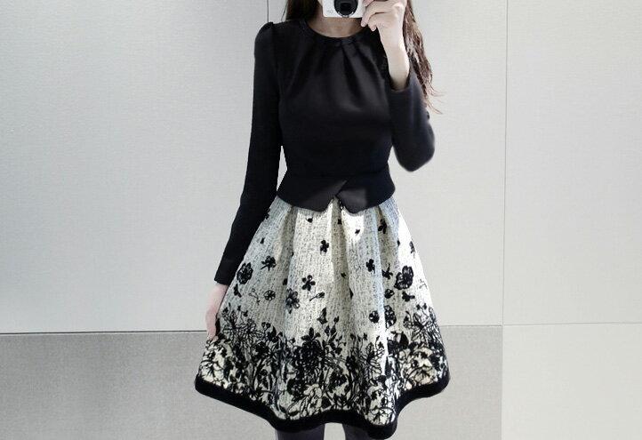 洋裝 氣質拼接印花加厚修身顯瘦連身裙 艾爾莎【TAE2418】 2