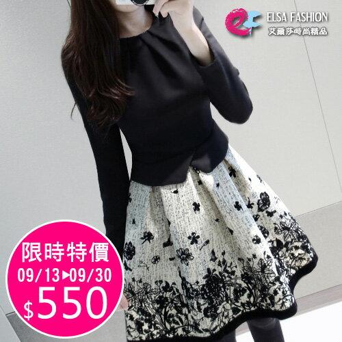 洋裝 氣質拼接印花加厚修身顯瘦連身裙 艾爾莎【TAE2418】 0