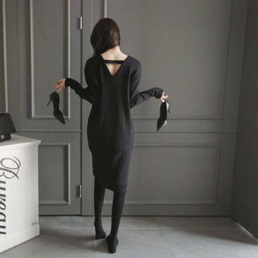 洋裝 針織顯瘦露背長袖蝴蝶結連身裙 艾爾莎【TAE2436】 1
