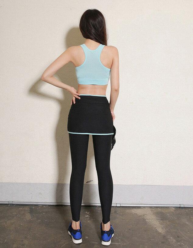 運動長褲 速乾跑步健身運動假兩件式緊身彈力褲裙 艾爾莎【TAE2473】 2