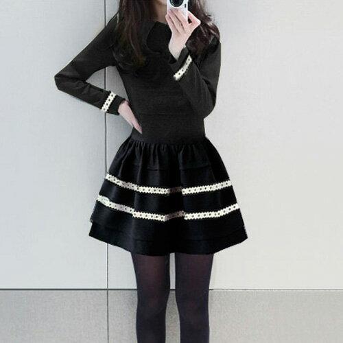 洋裝 甜美木耳邊腰間曲線顯瘦連身裙 艾爾莎【TAE2475】 1