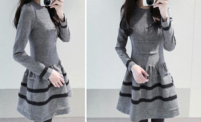 洋裝 甜美木耳邊腰間曲線顯瘦連身裙 艾爾莎【TAE2475】 2