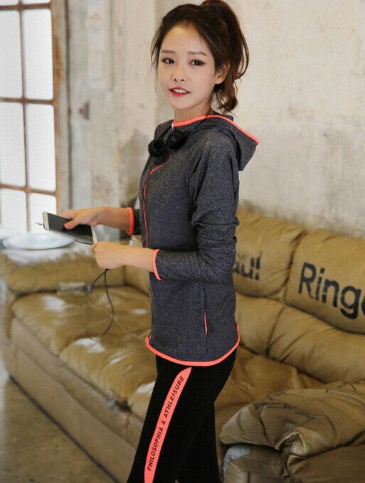 運動服 立領透氣速乾外套+側邊配色彈性瑜珈運動褲套裝 艾爾莎【TAE2495】 1