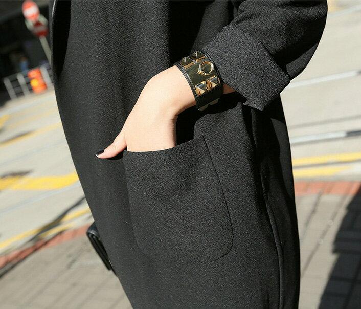 長大衣風衣罩衫 復古落肩袖長版西裝大衣外套 艾爾莎【TAE2539】 2