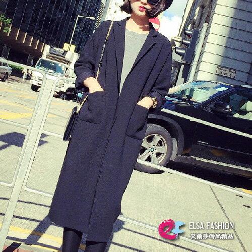長大衣風衣罩衫 復古落肩袖長版西裝大衣外套 艾爾莎【TAE2539】 0
