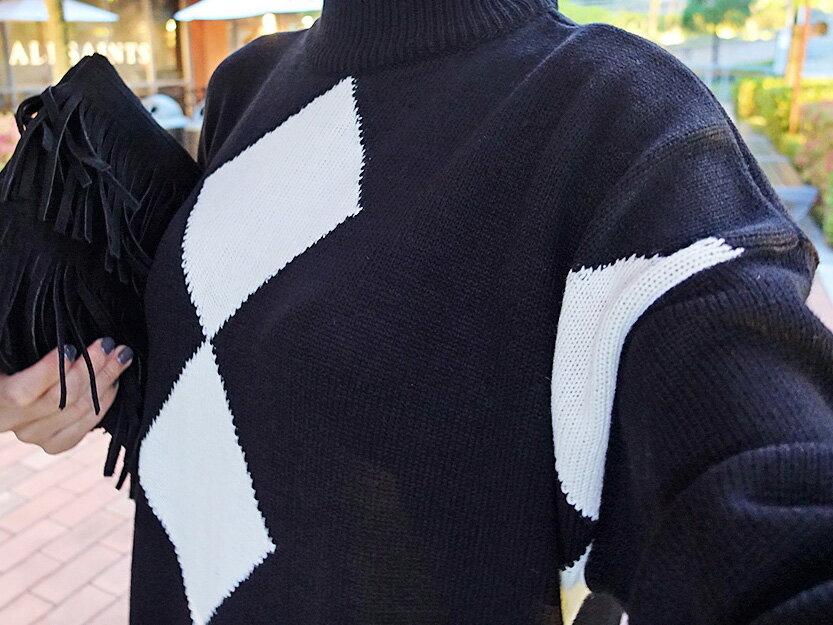 洋裝 寬鬆菱格微高領加厚連身裙 艾爾莎【TAE2866】 2