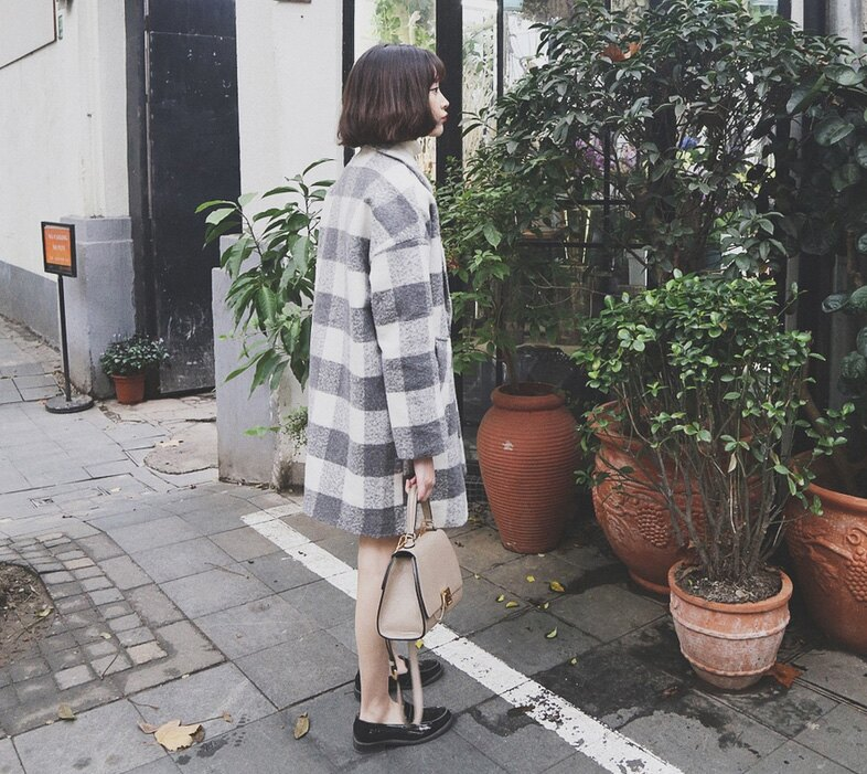 西裝外套 時尚冬裝大方格配色單釦大衣外套 艾爾莎【TAE2968】 1