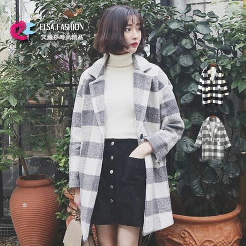 西裝外套 時尚冬裝大方格配色單釦大衣外套 艾爾莎【TAE2968】 0