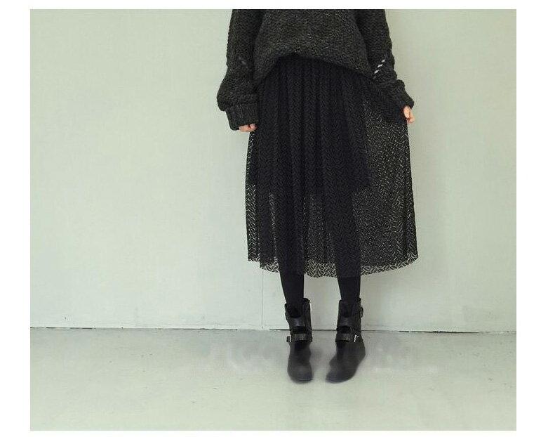 長裙 春意鏤空葉子蕾絲鬆緊腰半身裙 艾爾莎【TAE2972】 1