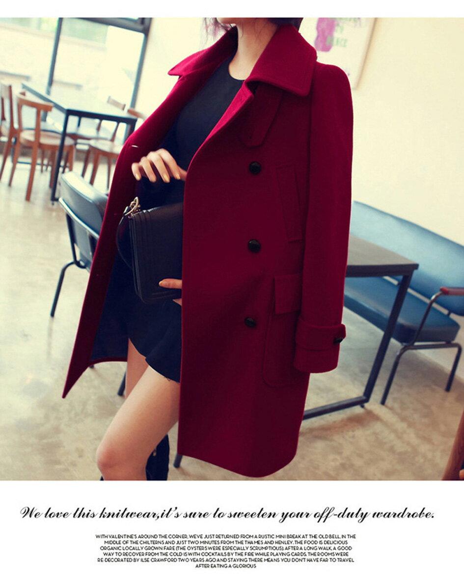 長大衣 時尚三穿修身顯瘦雙排釦毛呢大衣 艾爾莎【TAE3019】 1