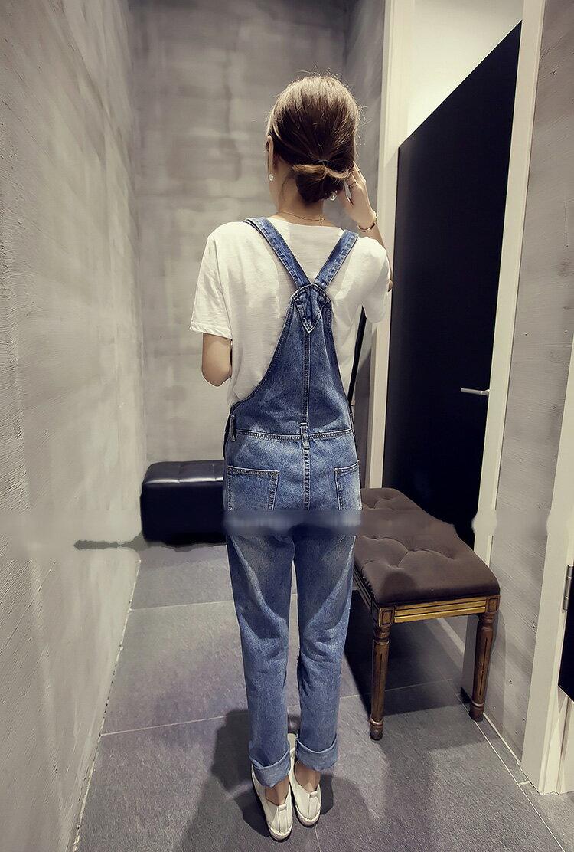 長褲 寬鬆直筒刷破Y字吊帶牛仔長褲 艾爾莎【TAE3053】 2