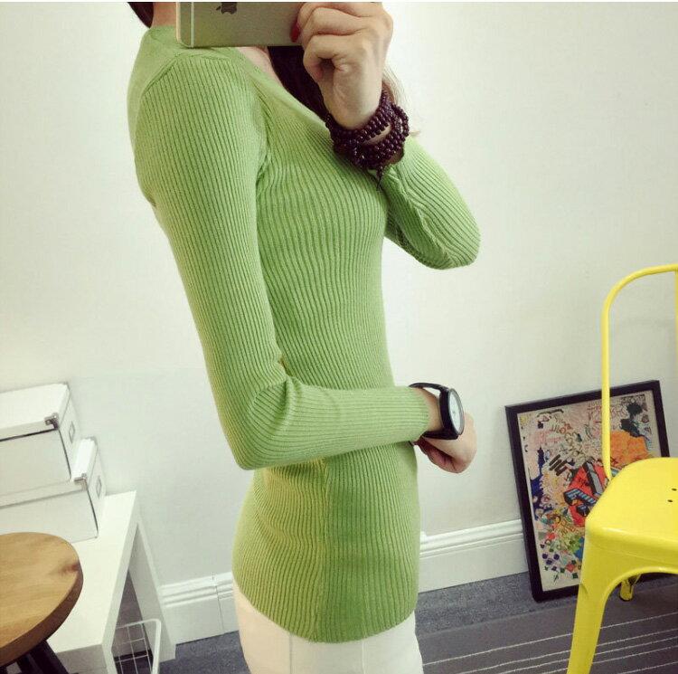針織衫 修身素色長版包臀坑條彈力上衣 艾爾莎【TAE3073】 1