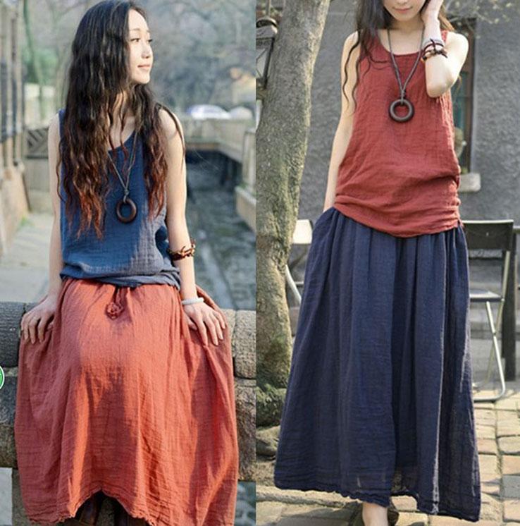 裙子 夏款清新寬鬆抽繩鬆緊腰半身長裙 艾爾莎【TAE3256】 1