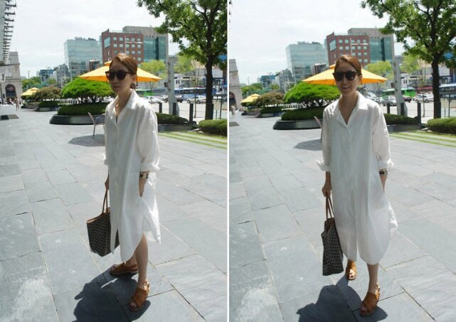 襯衫 男友風素面口袋白色長版襯衫 艾爾莎【TAE3481】 1