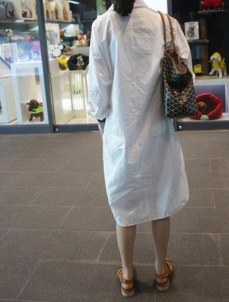 襯衫 男友風素面口袋白色長版襯衫 艾爾莎【TAE3481】 2