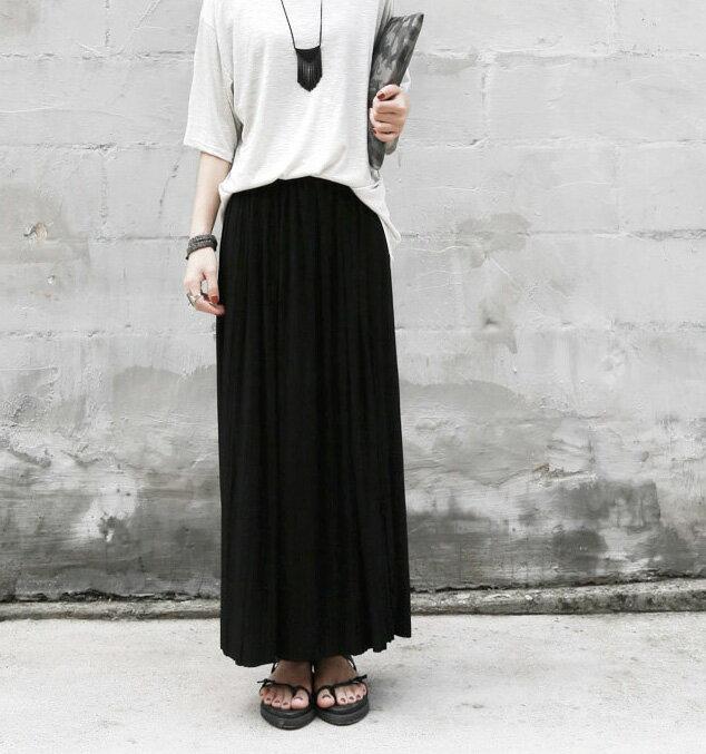 百摺裙 高雅簡約純色鬆緊腰百褶長裙 艾爾莎【TAE3514】 1